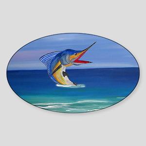 Marlin Deep Sea Fishing Sticker (Oval)