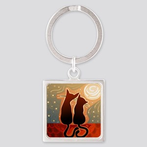 Cats in Love Square Keychain