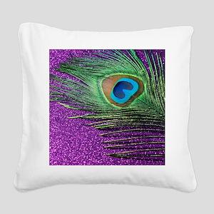 glittery purple peacock feath Square Canvas Pillow