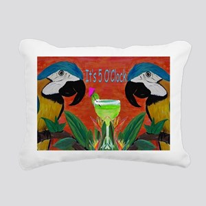 Its 5 OClock Parrots Rectangular Canvas Pillow