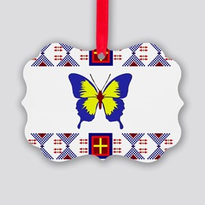 Sioux Design with Butterflies Picture Ornament