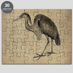 Vintage Heron Drawing Puzzle