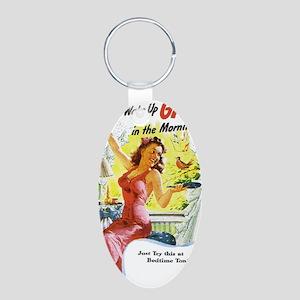 Wake Up Gay Aluminum Oval Keychain