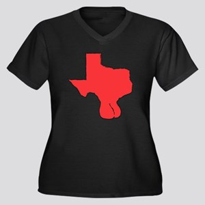 red texas wi Women's Plus Size Dark V-Neck T-Shirt