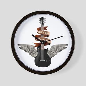 e-guitar rock wings Wall Clock