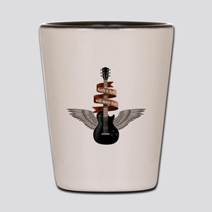 e-guitar rock wings Shot Glass