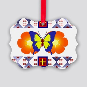 Butterfly on two flowers design Picture Ornament