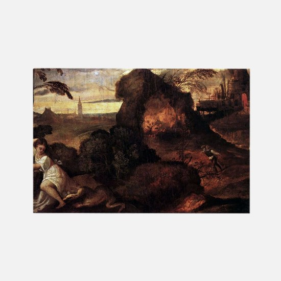Orpheus and Eurydice - Titian - c1508 Magnets