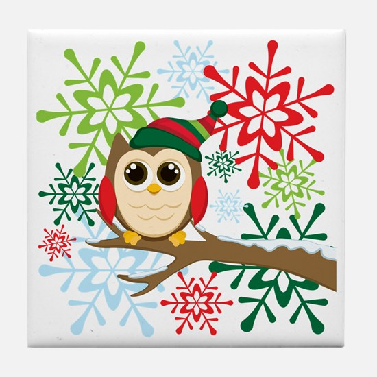 Owl Christmas Tile Coaster