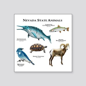 "Nevada State Animals Square Sticker 3"" x 3"""