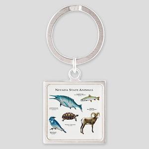 Nevada State Animals Square Keychain