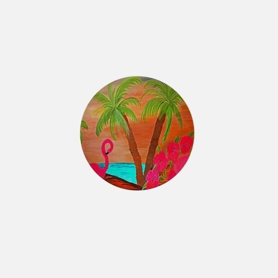 Flamingo in Paradise Art Mini Button