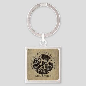 Vintage Aquarius Square Keychain