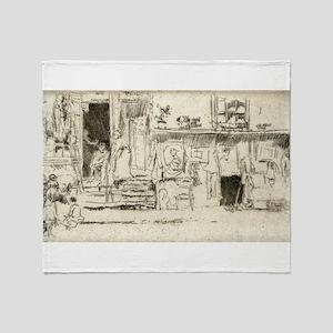 Old clothes shop, no. 2 - Whistler - c1880 Throw B