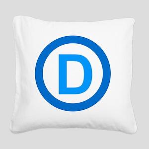 Democratic D Design Square Canvas Pillow