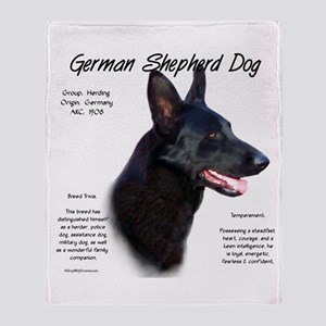 Black GSD Throw Blanket