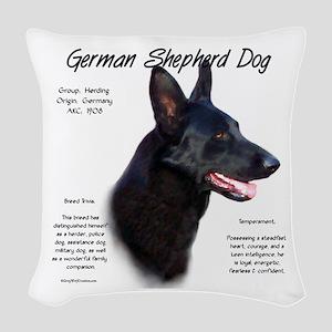 Black GSD Woven Throw Pillow