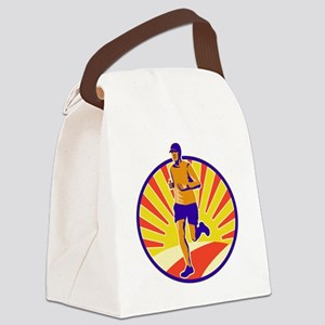 Marathon Runner Athlete Running Canvas Lunch Bag