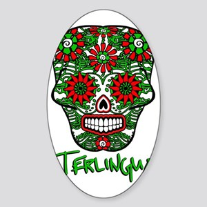 Terlingua Chili Pepper Sugar Skull Sticker (Oval)