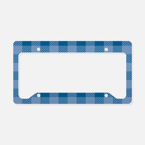 Plaid_Blue1_Large License Plate Holder