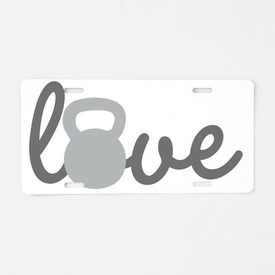Love Kettlebell Grey Aluminum License Plate
