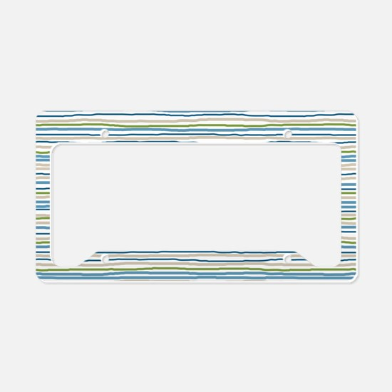 StripesRough_BlueGreen1_Large License Plate Holder