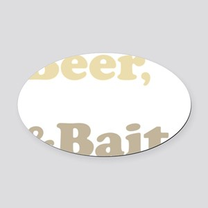 Beer Boats Bait Fishing Oval Car Magnet