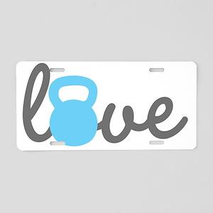 Love Kettlebell Blue Aluminum License Plate