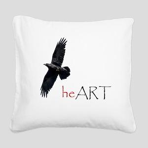 Raven Heart Square Canvas Pillow
