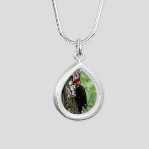Pileated Woodpecker Silver Teardrop Necklace