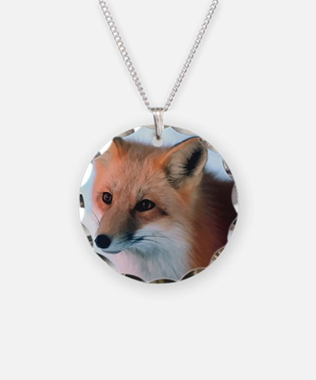 Cute Fox Necklace Circle Charm