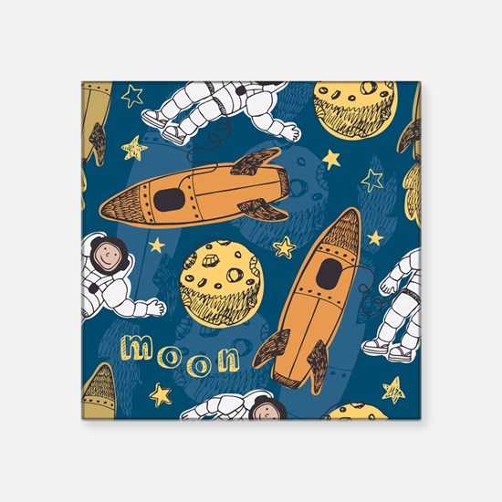 "Astronaut Pattern Square Sticker 3"" x 3"""