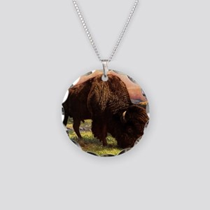 Vintage Bison Painting Necklace Circle Charm