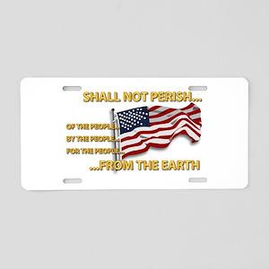 USA - Shall Not Perish Aluminum License Plate
