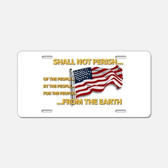 USA - Shall Not Perish Aluminum License Plate