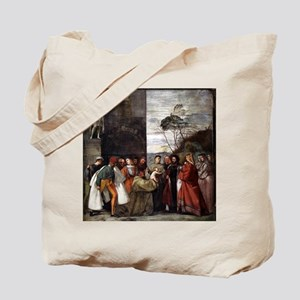 Miracle of the New Infant - Titian - c1511 Tote Ba