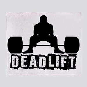 Deadlift Black Throw Blanket