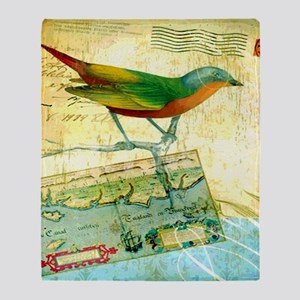 Vintage Tropical Bird Poster Throw Blanket