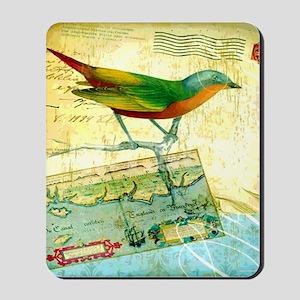 Vintage Tropical Bird Poster Mousepad