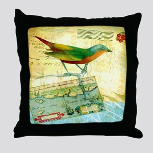 Vintage Tropical Bird Poster Throw Pillow