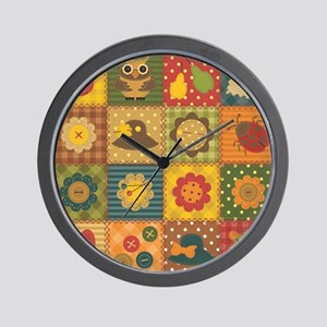 Country Patchwork Wall Clock