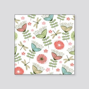 "Dragonflies and Flowers Square Sticker 3"" x 3"""