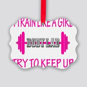 train like a girl v neck Picture Ornament