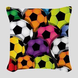 Colorful Soccer Balls Woven Throw Pillow