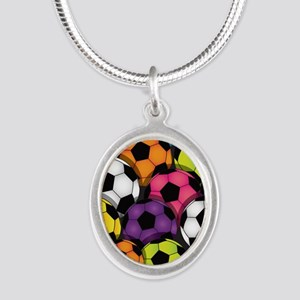 Colorful Soccer Balls Silver Oval Necklace