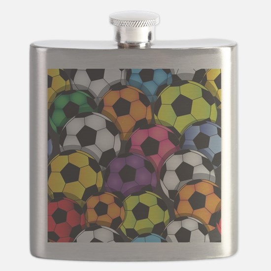 Colorful Soccer Balls Flask