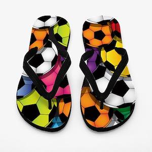 Colorful Soccer Balls Flip Flops