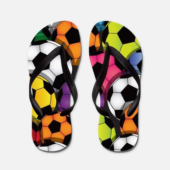 Colorful Soccer Balls Flip Flops