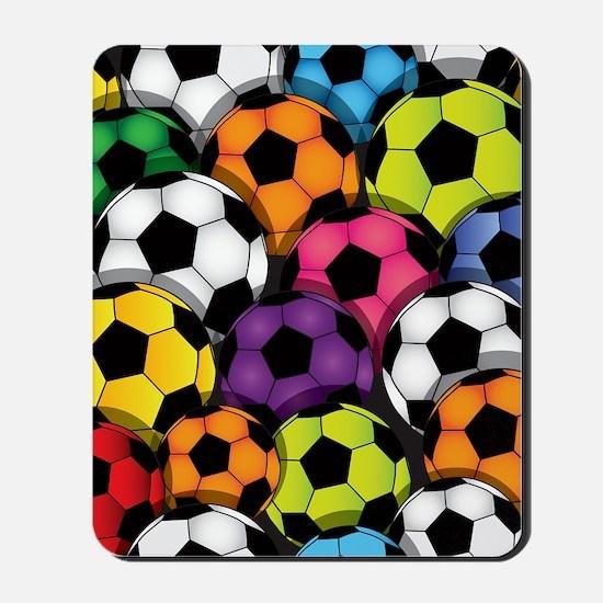 Colorful Soccer Balls Mousepad