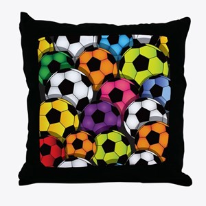 Colorful Soccer Balls Throw Pillow